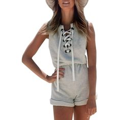 Chic Lace-up Front Sleeveless Elastic Waist Romper ($14) ❤ liked on Polyvore featuring jumpsuits, rompers, light grey, playsuit romper, sleeveless romper and sleeveless rompers