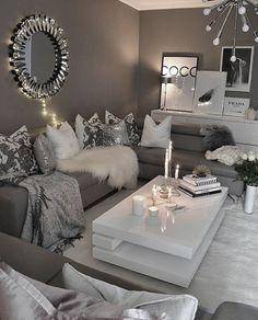 Grey Tones & Textures in this room. - New Deko Sites Living Room Decor Cozy, Living Room Grey, Living Room Modern, Home Decor Bedroom, Home And Living, Living Room Designs, Decoration Chic, Decorations, Living Room Inspiration