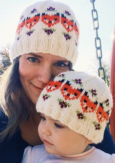 Knitting Pattern for Fox and Fleur Cap - This charming beanie for all ages features adorable stranded foxes and tiny flowers. Available in 6 sizes from baby to adult.