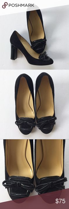 Kate Spade black bow heels Kate Spade black suede heels with bow and stacked patent leather heel. A little bit of lint in the toe and one of the bows is not as straight as the other with a tiny tiny tear. 3 inch heel. kate spade Shoes Heels