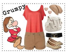 """""""Grumpy"""" by disneyinspired ❤ liked on Polyvore featuring Blonde + Blonde, D&G, JustFab and Marc by Marc Jacobs"""