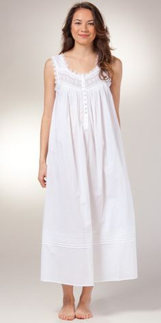 Eileen West White Nightgown – Cotton Sleeveless Ballet – Seville Blanca - Under Wear Night Gown Dress, Cotton Nighties, White Nightgown, Pijamas Women, Nightgown Pattern, Night Dress For Women, Nightgowns For Women, Vintage Mode, Dress Patterns