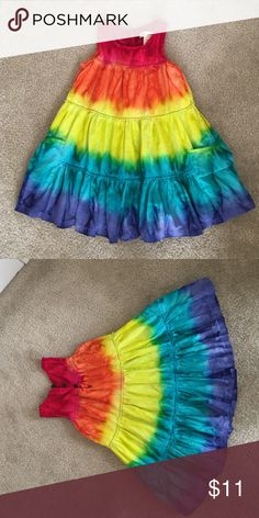 Tie-dye rainbow sundress Fully lined. Three button closure at back of neck. Pockets on either side. No trades, 10% off bundles. Pandemonium Dresses Casual