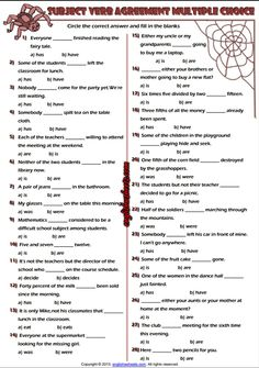 Subject And Verb Agreement Multiple Choice Exercise Test English Grammar Quiz, English Games, Writing Activities, Learning Resources, Activities For Kids, Subject Verb Agreement, Subject And Verb, Grammar Worksheets, Printable Worksheets
