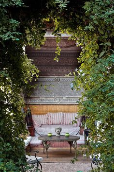 Snug corner in small garden with inticately patterned tiling decorates the interior of the alcove seating area. Small Outdoor Spaces, Outdoor Rooms, Outdoor Living, Outdoor Decor, Small Spaces, Outdoor Furniture, Alcove Seating, Moroccan Garden, Small Garden Design