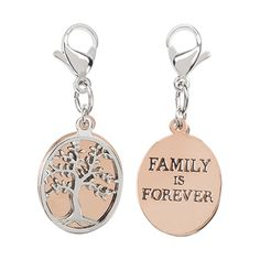 "The love of a family is life's greatest blessing. Represent your greatest blessing with the Family Tree Dangle. Pair this with your favorite Living Locket to celebrate the special people in your life.  Dangle Features  *Double-sided Dangle with Family Tree and ""Family is Forever"" on each respective side.  *Lobster claw clasp"