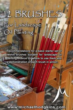 Recommendations for a beginner's basic starter set of twelve brushes suitable for landscape oil painting. Advice on where to use them and a demonstration of each brush in action.  #finearttips #pleinair #landscapepainting #artinstruction #arttips #artlessons #artvideo #artist