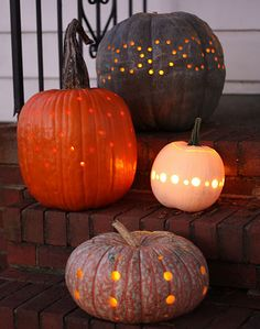 Drilled Pumpkin Designs: I actually did this last year for Halloween because I had waited too late to carve our pumpkins! I set my husband to work and they turned out much like this! We got constant compliments from parents!