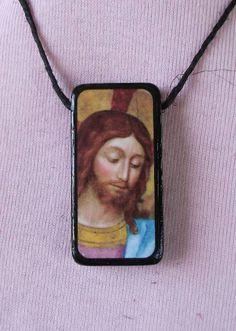 Old Masters Art Domino Pendant Necklace Jesus Christ by Pixxistix. $10.00, http://www.etsy.com/shop/Pixxistix?ref=si_shop