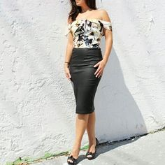 Floral print off shoulder top with black harmony wax coated skirt | Maidelin.com