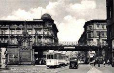 Wiadukt kolejowy na granicy Kaiser Wilhelm Str. i Neue Schweidnitzerstr - dziś północny koniec ul. Powstańców Śląskich   Rok 1937