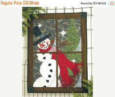 ON SALE In The Meadow Winter Window Pane Kit Snowman Wallhanging Kit Happy Hollow Designs