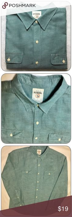 Fossil Authentic 54 Green Chambray Long Sleeve Fossil Mens Green Chambray Long Sleeve Size  L Fossil Shirts Casual Button Down Shirts