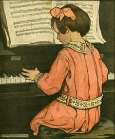"""""""Girl Playing The Piano"""", by American artist and illustrator - Jessie Wilcox Smith Vintage Girls, Vintage Children, Vintage Art, Children Books, Vintage Music, Vintage Prints, Vintage Posters, American Illustration, Children's Book Illustration"""