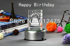 3D laser crystal birthday gift for kids,festive event & party supplies holiday souvenir decor cupcake box wedding cake topper