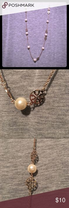 Charming Charlie long necklace pearl & gold tones Like new necklace. Bought from another posher but don't care for how it looks on me. My loss is your gain! Charming Charlie Jewelry Necklaces