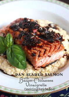 Pan Seared Salmon with Bacon-Molasses Vinaigrette - CookingBride.com