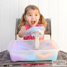 Colorful Soap Foam: Looking for some good, clean fun? Try this sudsy sensory experience. If you make a few different hues of this fluffy foam, your child can experiment with mixing colors.