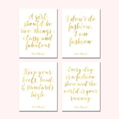 Set of 4 Chanel Quotes Digital Chanel Wall Art Printable