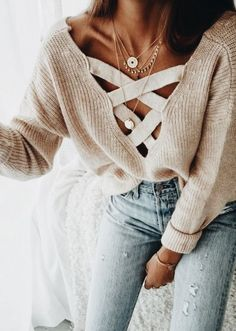 Ribbed sweater.