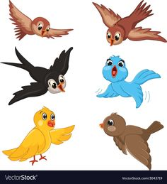 Birds Vector Illustration Set Stock Vector - Illustration of cartoon, happy: 42787519 Cute Cartoon Pictures, Bird Pictures, Cartoon Faces, Cartoon Drawings, Winnie The Pooh Gif, Crown Crafts, Drawing Lessons For Kids, Kids Vector, Cartoon Garden