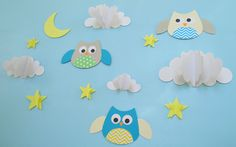 Owls and Clouds 3D Wall Decals, Owl Wall Art, Wall Decor, Owl Nursery Wall Art on Etsy, 92.86₪
