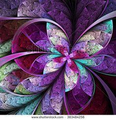 Purple fractal butterfly or flower, digital artwork for creative graphic design