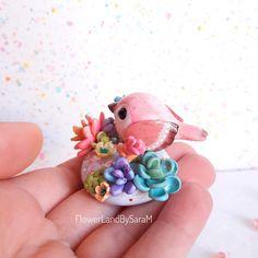 Good vibes bird, Joy. One of a kind by FlowerLandbySaraM, $40.00 USD polymer clay