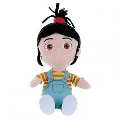 Já Padouch - Plyšová figurka, Agnes. Krásná postavička z pohádky Já padouch 2. Agnes je nejmladší z adoptovaných dcer. Má černé vlásky v culíku, modré lacláče a žlutě pruhované triko.