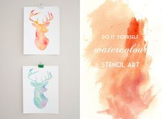 ♡: diy : watercolour stencil art Press stencil down as you paint for crisp edges Stencil Art, Stencils, Deer Stencil, Diy Wall Art, Diy Art, Diy Projects To Try, Art Projects, Paper Crafts, Diy Crafts