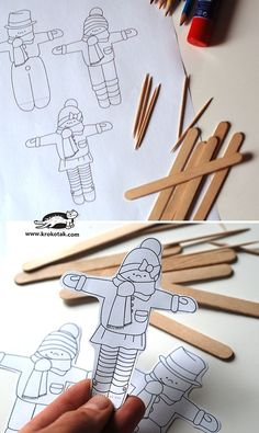 Skiing colouring in Winter Art Projects, Winter Crafts For Kids, Winter Kids, Winter Sport, Winter Activities, Craft Activities, Preschool Crafts, Popsicle Stick Crafts, Craft Stick Crafts