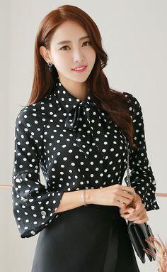 StyleOnme_Polka Dot Ribbon Necktie Bell Sleeve Blouse #blackandwhite #polkadot #retro #blouse #ribbon #necktie #koreanfashion #kstyle #seoul #dailylook #fallfashion #cute #sweet #bellsleeve #feminine