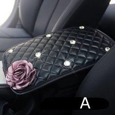 Customized Car Center Console Cover with Flower and Rhinestones - Carsoda - 1