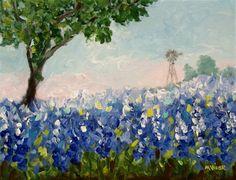 Impressionist Texas Bluebonnet Flowers Impasto by MonaVivarFineArt, $75.00