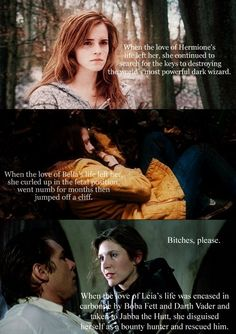 tough tie here. hermione can do magic and leia's a jedi. but bella and her huge front teeth can suck it.