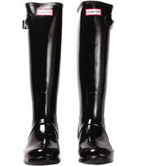 Hunter Original Tall Gloss Rain Boots - Black ($150) ❤ liked on Polyvore featuring shoes, boots, black, chaussures, black gloss, knee-high boots, black low heel boots, wellington boots, tall knee high boots and tall boots