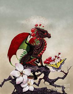 Cherry Print featuring the digital art Cherry Dragon by Stanley Morrison Magical Creatures, Fantasy Creatures, Fantasy Kunst, Fantasy Art, Dragon Series, Dragon Artwork, Dragon Pictures, Cute Dragons, Fantasy Dragon