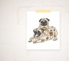Ozzy and Harley - 50% or more from each art print is donated to a pet shelter
