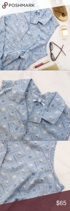 Soft Geometric Print Chambray Shirt Dress Details: * Size 14 * Hidden button placket (goes 1/4 way down) * Shirttail hem * Super soft tencel fabric * NWT Foxcroft Dresses