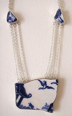Rosie Bill's found ceramic jewellery. Beautiful 1900s English pottery, set in silver.