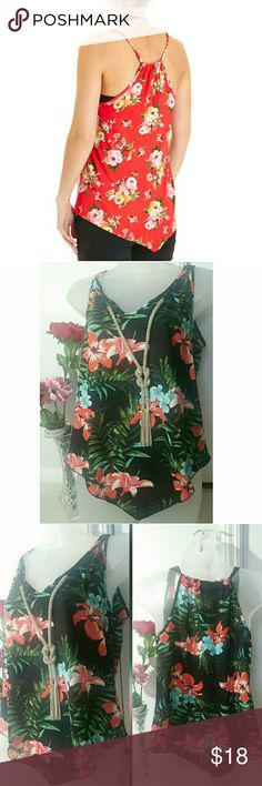 SIZE Small LoVe J Love j brand,size Small, beautiful floral- 100%polyester.. Attachable necklace. In excellent good conditions Love J Tops Tank Tops