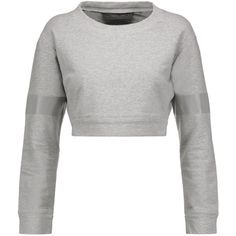 Norma Kamali - Cropped Stretch-cotton Sweatshirt (190 BRL) ❤ liked on Polyvore featuring tops, hoodies, sweatshirts, sweaters, stone, white top, white crop top, cut-out crop tops, halter crop tops and white halter top