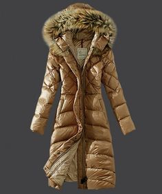 2013 New! Moncler Down Coat Women Hooded Windproof Light Tan www.onlakemac.com