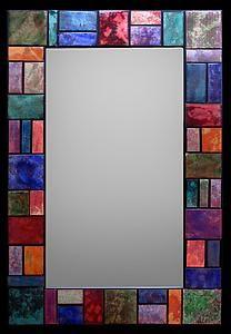 Geometric Firescale Mirror: Kim Eubank, Will Armstrong: Metal Mirror Mirror Mosaic, Mosaic Diy, Metal Mirror, Mosaic Crafts, Mosaic Glass, Mirror Art, Stained Glass Frames, Stained Glass Patterns, Stained Glass Art