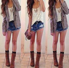 Lace top, Denim jacket, Brown combat boots