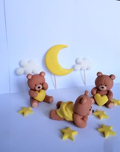 Fondant Cake Toppers, Fondant Figures, Fondant Cakes, Baby Cake Topper, Teddy Bear Cakes, Teddy Bears, Gateau Baby Shower, Cloud Cake, Decoration Patisserie