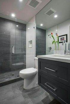 Beautiful shower room remodel as well as complete change to this desire bath! Shower Room Restoration Concepts: bathroom remodel expense, restroom suggestions for tiny restrooms, little bathroom layout concepts. Bathroom Layout, Modern Bathroom Design, Bathroom Interior Design, Contemporary Bathrooms, Contemporary Decor, Contemporary Vanity, Small Bathroom Designs, Grey Modern Bathrooms, Bathtub Designs