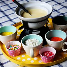 cupcake fondue....fun birthday party idea.