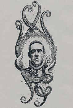 Howard Phillips Lovecraft on Behance Hp Lovecraft, Lovecraft Cthulhu, Cthulhu Tattoo, Cthulhu Art, Ankle Tattoo Small, Small Tattoos, Science Tattoos, Arte Obscura, Sleeve Tattoos