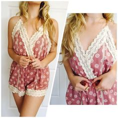 Gorgeous Floral Tie Up/ Adjustable Romper This romper is Sexy & Sweet! A definite MUST HAVE! Drape with a cardigan & put some booties on! So cute! You will LOVE this piece! Also available in Baby Blu  Sizes available on S M L  Please do not purchasing this listing! Comment Size and I will personally make you one! Xo Bohemian Sea Other